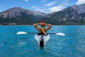 woman on a kayak