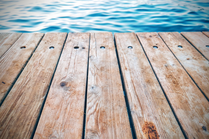 wooden deck by the pool